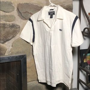 A&F Classic two button polo men's S white & navy.